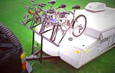 A-frame tongue mounted RV bike racks