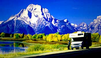 Motorhome by a mountain