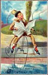 Comic Penny Farthing Christmas Card
