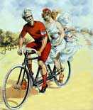 Bicycle Poster - Couple riding a tandem