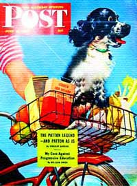Vintage Saturday Evening Post 1945 - bicycle dog carrier